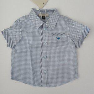 Armani Junior SS Blue Button Down Collared Shirt